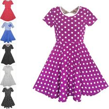 Girls Dress Purple White Dot Back Cutout Back School Dress Size 4-12