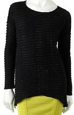 Rock & Republic Womens Gold Lurex Thread Dream Melodies Black Sweater