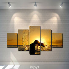 Oil Painting HD Print Wall Decor Art on Canvas Setting sun、girl、sea 5pcs