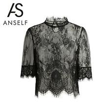 Lace See Through Mesh Sheer Tee Blouse High Sleeve Women Crop Tops Shirt T4U0