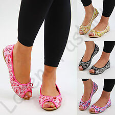 New Womens Flat Peep Toe Pumps Slip On Bow Plimsolls Ballerinas Casual Shoes