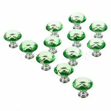 Green Knobs Crystal Glass 30mm Handle Cabinet Drawer Door Pulls Diamond Shape