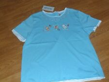KENETH TOO KNIT TOP SHIRT SIZE M - L SUMMER VACATION BLUE EMBROIDERED NWT