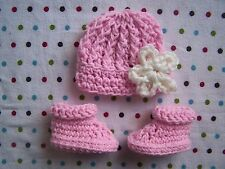 CROCHET BABY GIRL HAT & BOOTIES SET ~ PREEMIE NEWBORN 0 3 MONTHS ~ PINK / WHITE