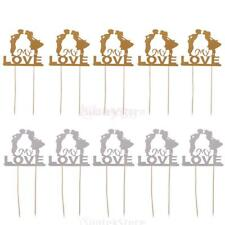 10x Glitter Kissing Couple Love Cake Topper Wedding Engagement Decor Gold/Silver