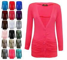 Womens 5 Button Cardigan V Neck Ruched Pocket Front Multipack of 3 Three Tops
