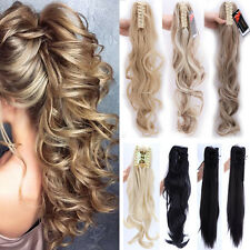 Thick Claw Pony Tail Ponytail Clip In On Hair Extension Curly Style As Human Pd3