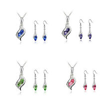 Fashion Hot Combination Necklace NEW HOT Austrian Earrings 1 Set 2016 Crystal