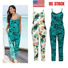 US Women Sling Floral Long Pants Casual Clubwear Jumpsuit Playsuit Romper S-2XL