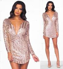 Rose Gold Geometric Sequin Long Sleeve Plunge V Neck Bodycon Mini Dress Sexy NWT