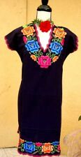 Womens Dress Navy Blue Mexico 100% Linen Frida Floral Silk Embroidery PeasantM/L