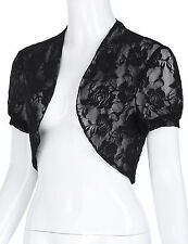 Women Short Sleeve Lace Floral Short Cropped Open Shrug Bolero Cardigan Top S-XL