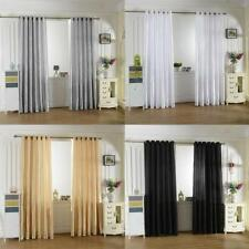Silky Satin Window Curtains Thermal Blackout Shade Balcony Blinds with Grommets