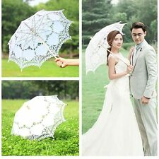 AU Women Handmade Lace Embroidered Parasol Umbrella Bridal Wedding Party Decor
