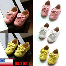 US Kids Girl Toddler Soft Slip On Flats Bowknot Party Casual Leather Shoes 4.5-9