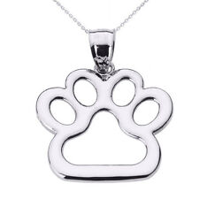 Dog Paw Print Pendant Necklace 925 SS, 10Kt Rose, Yellow or White Gold