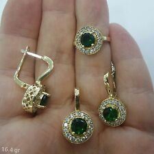 Turkish Handmade 925 Sterling Silver Jewelry New Design Multi Gems Ladies Set