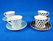 4 Pc. Demitasse/Espresso Coffee Cup & Saucer Gift Box ~ Polka Dot, Black or Blue