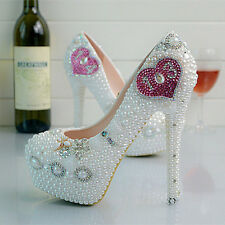 Pearl Pink White Heart Wedding Ball Club Shoe High Heels Party Evening Sexy Au