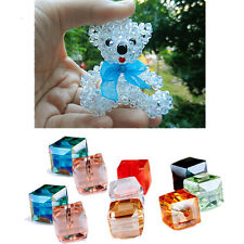 Cube DIY Square Crystal Spacer Beads Glass Faceted Loose 4mm/6mm 10Pcs