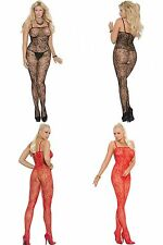 Elegant Moments Red or Black Rose Lace Bodystocking Lingerie OS Queen 14-20