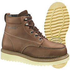 """Wolverine Work Boots Men Moc-Toe Wedge-Heel 6"""" Brown Leather Boot W08288 Lace-up"""