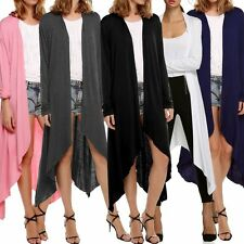 Women Long Sleeve Cardigan Loose Sweater Irregular Hem Outwear Jacket Coat Top##