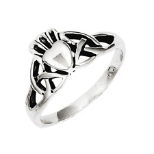 925 Sterling Silver Celtic Knot Claddagh Ring
