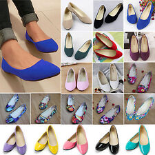 Women Ballerina Ballet Dolly Pump Flats Loafers Suede Ladies Slip On Boat Shoes