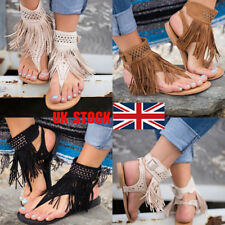 UK Women Gladiator Rome Buckle Flat Tassel Beach Flip-flops Sandals Shoes Size
