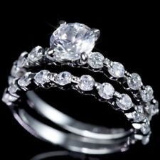 Stylish 2 pc .925 Sterling Silver Cubic Zirconia CZ Bridal Engagement Band Ring