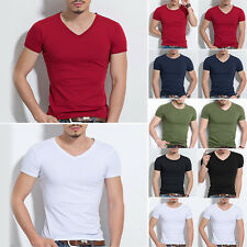 Men Slim Fit Cotton Tops T-Shirt Short Sleeve O/V-Neck Casual Tee Shirt Pullover