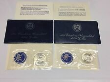"1971-S and 1972-S Eisenhower Silver Dollar Pair ""Blue Ike"" Silver $1 Lot NR + FS"