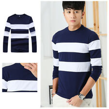 1Pcs Long Sleeve O Neck T Mens Slim T-Shirt Men's Shirts Stripe Casual T Shirts