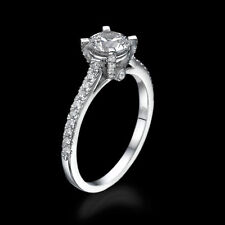 1.65 CT D/VS1 Certified Enhanced Round Diamond Engagement Ring 18K White Gold