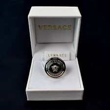 NWT $525 Gianni Versace Mens Womens Gold Medusa Logo Black Enamel Ring AUTHENTIC
