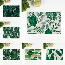 Nordic Style Green Leaf Dining Table Pads Placemats Tableware Mat Coaster