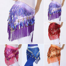 Fance Belly Dance Hip Scarf Tribal Fringe Tassel Belt Sequined Skirt Copper Coin