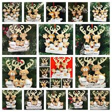 PERSONALISED CHRISTMAS TREE DECORATION / ORNAMENT REINDEER FAMILY 2-5 NAMES