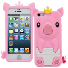 1Pcs Phone Case Crown Pig Silicone Shell Cute 4.0 inch Phone Bag iPhone 5/5S/SE