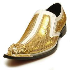 Men's Fiesso White/Gold Leather Pointed Toe Shoes Gold Metal Tip FI 6983