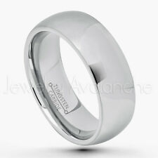 8mm Comfort Fit Dome Tungsten Wedding Band, Men's Polished Tungsten Carbide Ring