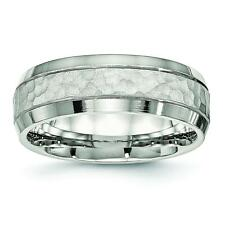 Chisel Stainless Steel Brushed and Polished Hammered 7.50mm Band Ring SR530