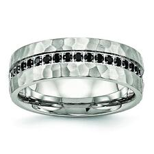 Chisel Stainless Steel Brushed and Polished Black CZ Hammered Ring SR540