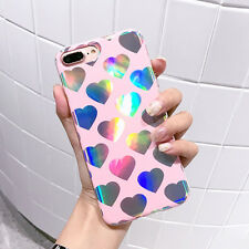 Cute Love Heart Laser Rainbow Phone Case Soft Back Cover For iPhone 6 6s 7 plus