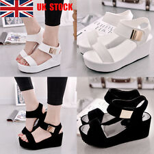 UK Women Ladies Open Toe Thick Bottom Sandals Wedge Platform Casual Shoes Size