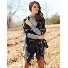 Mud Pie Womens Ava Plaid Fringe Hem Scarf Wrap Arm Openings One Size Fits All