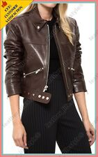 Women's Genuine Lambskin Leather Jacket Brown Slim fit Biker Basic Jacket 04