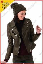 Women's Genuine Lambskin Leather Jacket Brown Slimfit Biker Motorcycle Jacket 12