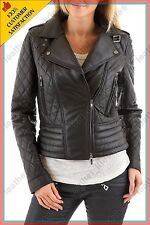 Women's Genuine Lambskin Leather Jacket Brown Slimfit Biker Quilted Jackets 15